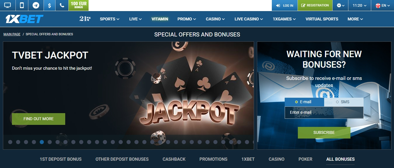 1xBet booking code real-time betting